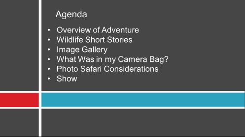 Kenya Photo Safari Presentation Agenda