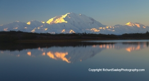 Denali Alpenglow Sunrise and Reflection