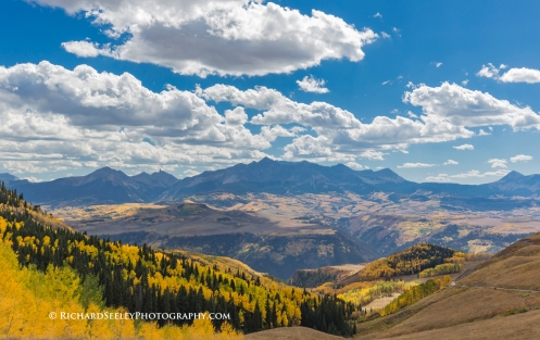 San Juan mountain range and golden aspens as seen from Last Dollar Road, Ridgway, Colorado