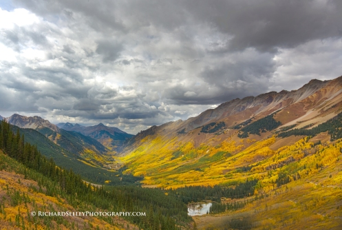 View into village of Ophir from Ophir pass, Colorado.