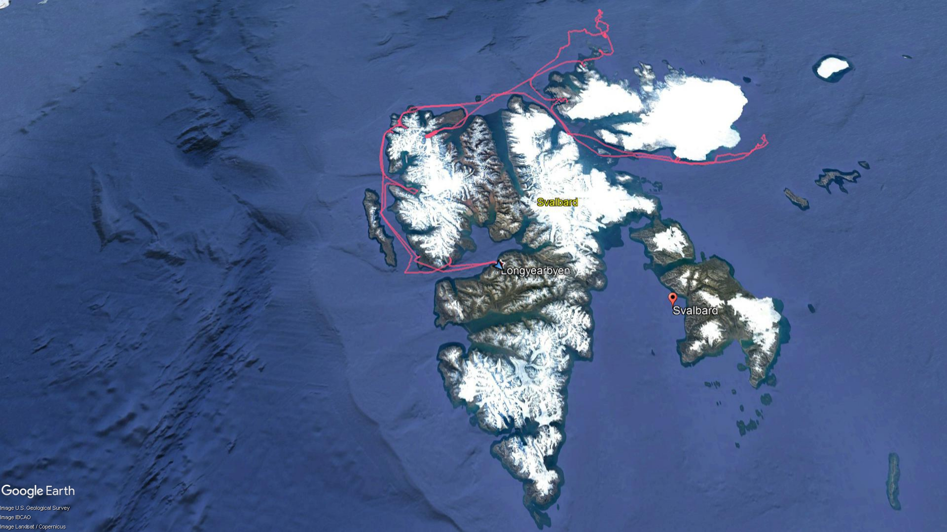 Our GPS Track In and Around Svalbard